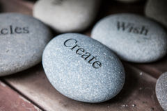 Pebbles with words royalty free stock photography
