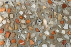 Beach rocks wall. Pebblestone wall with multicolor stone beach and seashell Royalty Free Stock Images