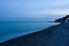 Pebbly beach. Picture of night pebbly beach and sea Stock Photo