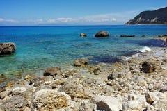 Pebbly beach of Agios Nikitas, Lefkada,  Greece. Pebbly beach of Agios Nikitas, Lefkada, Ionian Islands, Greece Stock Photos