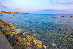 Pebbly beach in Paphos, Cyprus Royalty Free Stock Image