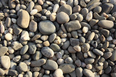 Pebbly gray beach stones texture background Royalty Free Stock Image