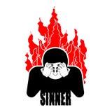 Pecador en el fuego OMG Cara de la cubierta con las manos Desesperación y sufferin stock de ilustración