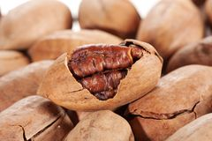 Pecan. A heap of Pecan close up for background Royalty Free Stock Image