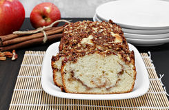 Pecan, apple and cinnamon loaf cake, close up. Stock Photography