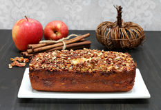 Pecan, apple and cinnamon loaf cake. Royalty Free Stock Photo