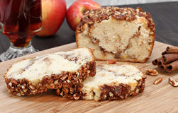 Pecan and Apple loaf cake, sliced. Stock Images