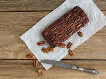 Pecan brownie cake Stock Photo