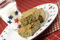 Pecan Caramel Bars with Patriotic Theme Stock Images