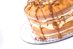 Pecan,caramel and pumpkin flavored cake Royalty Free Stock Photo