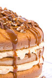 Pecan,caramel and pumpkin flavored cake Royalty Free Stock Photos