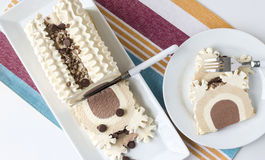 Pecan chocolate caramel ice cream cake. Stock Photos