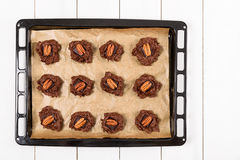 Pecan Chocolate Cookies In Tray Stock Photography