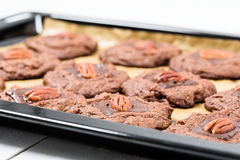 Pecan Chocolate Cookies In Tray Stock Image