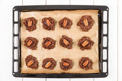Pecan Chocolate Cookies In Tray Royalty Free Stock Images
