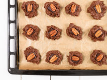 Pecan Chocolate Cookies In Tray Royalty Free Stock Image