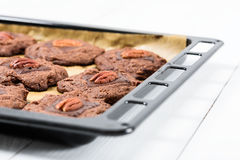 Pecan Chocolate Cookies In Tray Stock Images