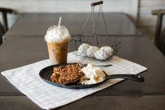 Pecan cobbler alamode with iced coffee Stock Photo