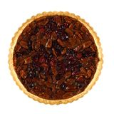 Pecan and cranberry autumn pie isolated on white Stock Photography