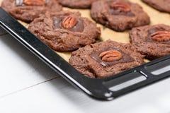 Pecan Czekoladowi ciastka W tacy Zdjęcie Royalty Free