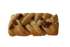 Pecan Danish Plait with walnuts Royalty Free Stock Images