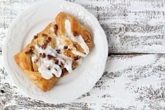 Pecan Danish vanilla frosting Stock Photo