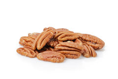 Pecan halves isolated on a white. Background royalty free stock images