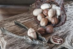 Pecan and macadamia nuts with a device for chopping nuts on a wooden background. Copy space.  stock images