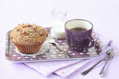 Pecan Muffin with Streusel Topping Stock Photo