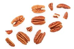 Pecan nut isolated on white background. Top view. Flat lay.  stock photo