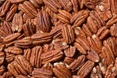 Pecan nuts  background, close up, full frame stock photography