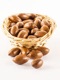 Pecan nuts in a basket Royalty Free Stock Photo