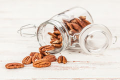 Pecan nuts closeup photo Royalty Free Stock Photo