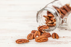 Pecan nuts closeup photo Royalty Free Stock Image