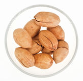 Pecan nuts in a glass bowl Royalty Free Stock Photography