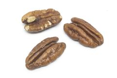 Pecan nuts isolated on white Royalty Free Stock Photos
