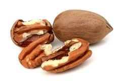 Pecan nuts isolated on white. Nutriens, nobody.