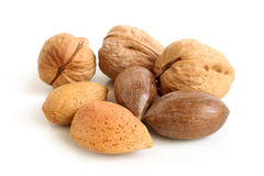 Pecan nuts, walnuts and almonds Stock Photography