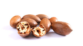 Pecan nuts on white Royalty Free Stock Photo