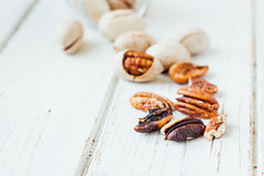 Pecan nuts on white Stock Photo
