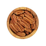 Pecan nuts in wood bowl Royalty Free Stock Photo