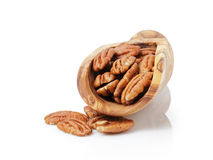 Pecan nuts in wood scoop Royalty Free Stock Photography