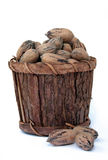 Pecan Nuts in Wooden Bucket Stock Photos
