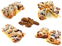 Pecan pastries & nuts Royalty Free Stock Images