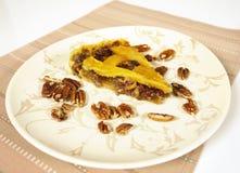 Pecan pie. Delicious piece of a pecan pie stock image