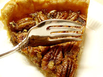 Pecan Pie. On white plate with fork on top ready to dig in Stock Images