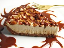 Pecan pie. Slice of frozen macadamia nut pie royalty free stock photos