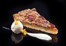 Pecan pie with ice cream Stock Photography