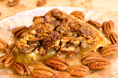 Pecan Pie Slice Closeup stock photos