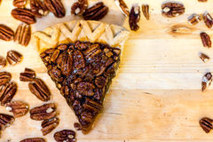 Pecan Pie Slice and Pecans Stock Photos